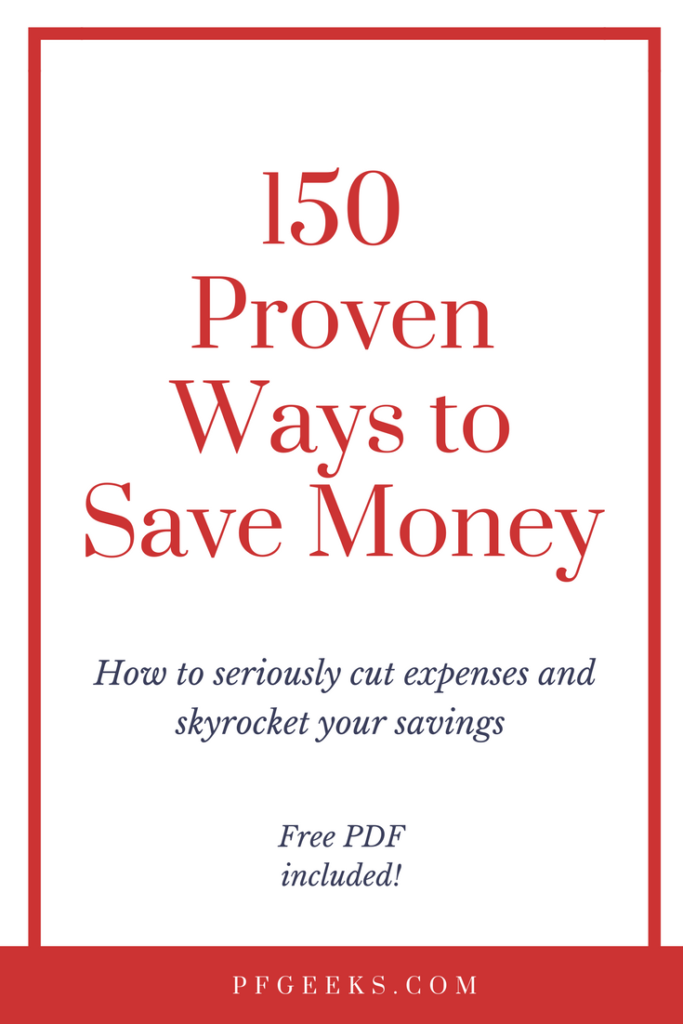 My massive list of 150 Ways to Save Money! If you're looking for #budgetingtips then this is the post for you. 30+ finance bloggers contributed to put together this awesome post. Free PDF download available. Please re-pin! Check out the post here https://www.pfgeeks.com/ways-to-save-money/ #moneysavingtips #waystosavemoney